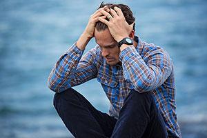 Sozialphobiker mit Angst und Depression gemischt
